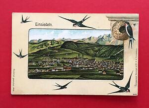AK EINSIEDELN Schweiz um 1900 Panorama mit Schwalben   ( 50497