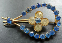 vintage art deco blue clear rhinestone gold tone flower brooch c pin -A483