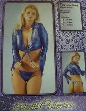 Sexy Miss Damen Erotik Gogo Disco glanz Wet Binde Top L 38 NEU SeXy Style blau