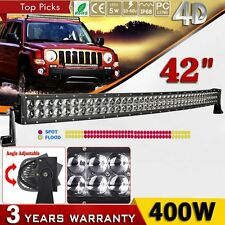 """42inch 400W Curved CREE LED Work Light Bar Spot Flood Combo 4D+ Lamp 40"""" 45"""" NEW"""