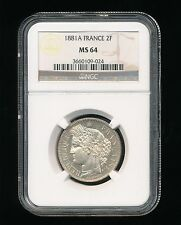 1881A France Two Franc Ngc Ms 64 2F Very Rare High Grade