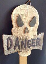 "*Vintage* Halloween Skull ""Danger"" Stake Wood Skeleton Haunted House Yard Decor"