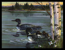 "VINTAGE 1954 ""LOONS"" LITHOGRAPH ART PRINT BY JOAN BERINGER PRIPPS"