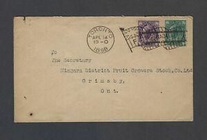 Canada 1898 Leaf Issue 1c grn + 2c vio.tied by Toronto Involute flag cancel Ty F