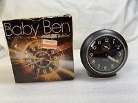 Vintage Westclox Baby Ben Style 11038 Black Luminous Dial Alarm Clock W/Box