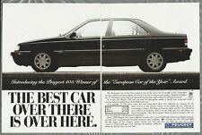 1989 PEUGEOT 405 2-page advertisement, Peugeot 405 sedan