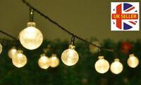 20ft 30 LED Solar Outdoor String Lights Warm White Crystal Ball Bulb