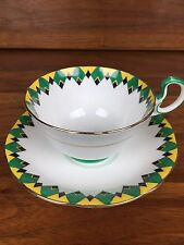 Aynsley Art Deco Green and Yellow Argyle Tea Cup And Saucer Set c1934-1939