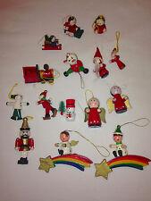 Vintage Christmas Wooden Ornament Lot 15 Train Bottlebrush Snowman Santa Angels