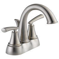 "Delta Kennett Stainless 4"" Centerset 2-Handle Bathroom Faucet , 25725LF-SS-ECO"