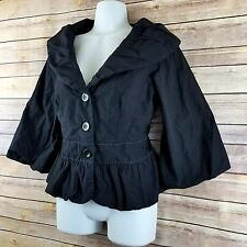 Anthropologie Elevenses Coat Jacket Button Solid Black Cotton 6 Business Casual