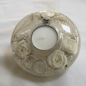 GLASS CANDLE HOLDER HAND MADE WITH FLORAL DESIGN (Mini) White wedding