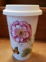 """Lenox Butterfly Meadow Travel Mug  Coffee Cup Tumbler with Silicone Lid 6"""""""
