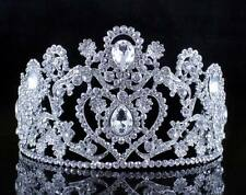 HEART WHITE CRYSTAL RHINESTONE HAIR TIARA CROWN BRIDAL PAGEANT JEWELRY T12107