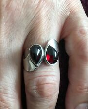 Unique, One Of a kind, Sterling Silver Garnet Ring Size: N/7