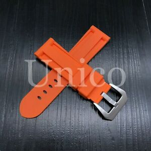 24 MM Orange Rubber Silicone Strap Band Soft Vintage Replacement Diver Sport New