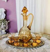Art Déco Kristallglas Rosalin gelb Likör-Karaffe 5x Glas versilbert Tablett Glas