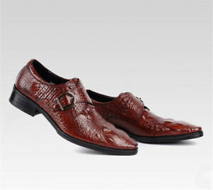 Men's Crocodile Strap Leather Shoes Casual Dress Buckle Shoes Party Wedding Form