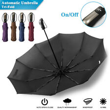Automatic Folding Umbrella Windproof Auto Open Compact With 10Ribs Fiberglass