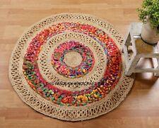 Indiano Juta Naturale Tappeto Rotondo Reversibile Handmade Canapa Intrecciato