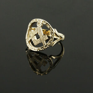 9ct Yellow Gold Masonic Ring Square and Compass