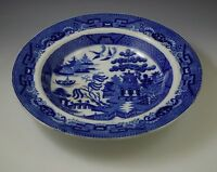 XIX CENTURY BARKER AND SON BLUE WILLOW LARGE RIMMED BOWL 10""