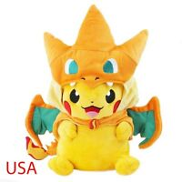 "9"" Pokemon Mega Pikachu With Charizard Hat Pocket Monster Plush Toy Stuffed Doll"