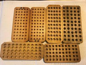 Antique Or Vintage Reloading Wooden Block Trays Set Of 6