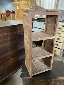 VINTAGE -  WICKER / BAMBOO Style Narrow Bookcase / Shelf / Storage