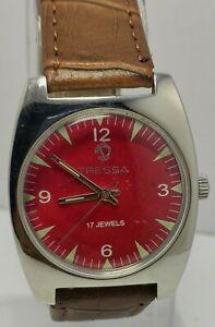 Genuine Tressa Manual Winding Red Face 17 Jewels Men's Wrist Watch For Men's