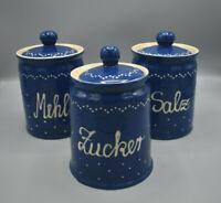 Echt Bürgeler Keramik DDR 3 alte große Vorratsbehälter Salz, Zucker, Mehl
