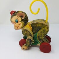 Vintage Fisher Price 1957 Chatter Monkey Pull Toy #798 Good Working Condition