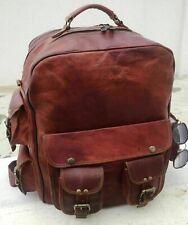 Genuine Vintage Leather Rucksack Laptop Backpack Brown Travel Walking Handmade