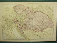 1882 LARGE ANTIQUE MAP ~ AUSTRIAN EMPIRE BOHEMIA HUNGARY MORAVIA TRANSYLVANIA