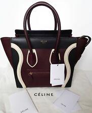 Celine Tri Color Micro Luggage  Leather Bag Shopper Tote Handbag Burgundy NWT