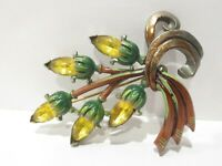 Vtg OLD Enamel Yellow Glass RS Floral Brooch Pin Flowers Pot Metal Hand Painted