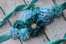 Flower Sash, teal blue sash , flower Belt, maternity sash, wedding sash