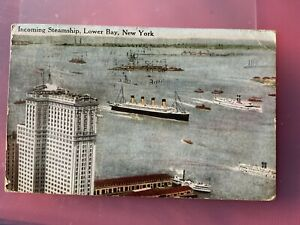 1916 POSTCARD INCOMING STEAMSHIP LOWER NEW YORK BAY STATUE OF LIBERTY