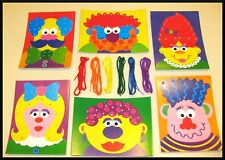 6 Lacing Cards + 6 Tipped Laces Funny Faces ABCraft