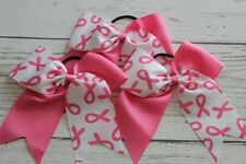 3pcs Breast cancer cheer bows chearleading hairbows big size pony, US seller