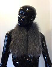 COLLO in PELLICCIA murmasky grigio FOURRURE SCARF silver FUR scialle volpe fox