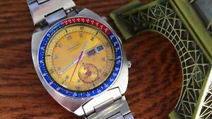 UNTOUCHED Seiko Pogue Pepsi Vintage Watch Chronograph Yellow 6139-6002 RareH
