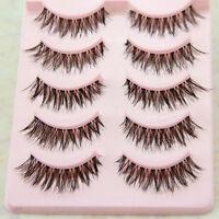 5 Pairs handmade Messy Nature Eye lashes Eye Beauty Makeup Cross False eyelashes