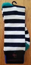 Alchester & Sons Navy Blue White Striped Wool Socks Men's One Size NWT