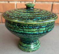 Vintage Blue Green Spiral Ceramic Pottery Dish + Lid Mid Century Modern Italy
