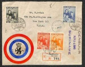 SURINAM #176-79 STAMPS FDC REGISTERED TO USA HAND DRAWN WWII CENSORED COVER 1943