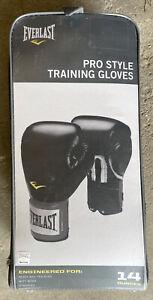 Everlast Pro Style Black Training Boxing Sparring Fighting Fitness Gloves 14 oz