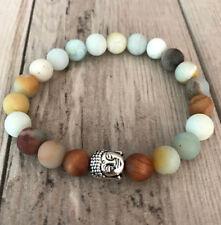 8MM Amazonite Mala Bracelet with Sandalwood and Buddah Bead/Yoga Bracelet