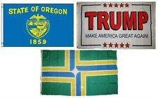 3x5 Trump White #2 & State of Oregon & City of Portland Wholesale Set Flag 3'x5'