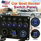 5 Gang Blue LED Rocker Switch Panel Circuit Dual USB For Vehicle Car Marine Boat